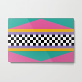 Checkered pattern grid / Vintage 80s / Retro 90s Metal Print