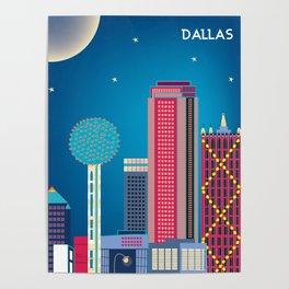 Dallas, Texas - Skyline Illustration by Loose Petals Poster