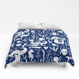 Under The Sea Navy Blue Comforters