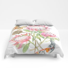 King Protea and Fish Watercolor Comforters