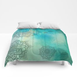 MANDALA COLLAGE ON Aqua Watercolor Comforters