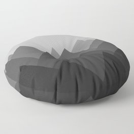 Black and White Abstract Mountains Floor Pillow