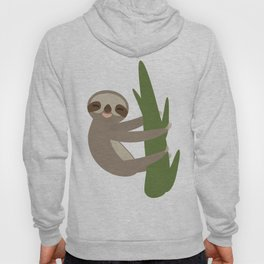 Three-toed sloth on green branch on white background Hoody