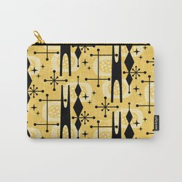 Retro Atomic Mid Century Pattern 771 Yellow Carry-All Pouch