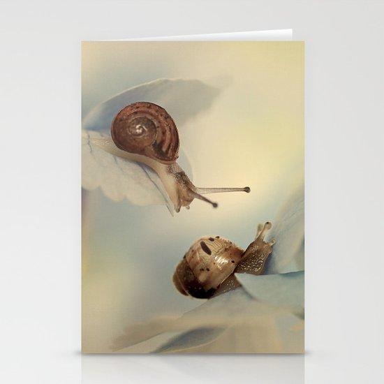 Snails on hydrangea Stationery Cards
