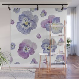 Watercolor Pansy Pattern Wall Mural