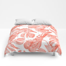 Tropical Hibiscus and Palm Leaves Dark Coral White Comforters
