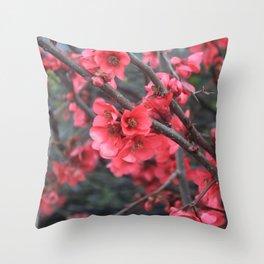 Crimson Blossoms Throw Pillow