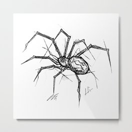 Spider Handmade Drawing, Made in pencil and ink, Tattoo Sketch, Tattoo Flash, Blackwork Metal Print