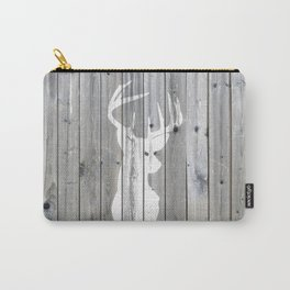 Hipster vintage white deer head on gray wood Carry-All Pouch