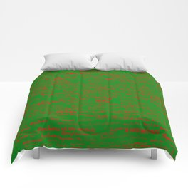 Merry Christmas, red on green Comforters