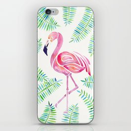 Dreamy Watercolor Flamingo and Ferns iPhone Skin
