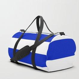 Cobalt Blue and White Wide Cabana Tent Stripe Duffle Bag