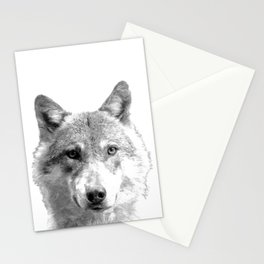 Black and White Wolf Stationery Cards