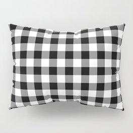Gingham Check Pattern Black, White, Gray Pillow Sham