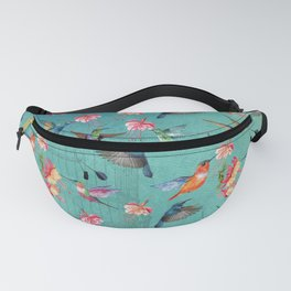 Vintage Watercolor hummingbirds and fuchsia flowers Fanny Pack