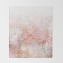 Beautiful Pink and Gold Ombre marble under snow Throw Blanket