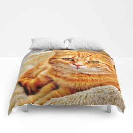 Cute red cat Comforters