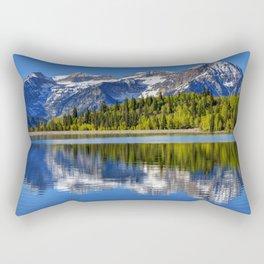 Mt. Timpanogos Reflected In Silver Flat Reservoir - Utah Rectangular Pillow