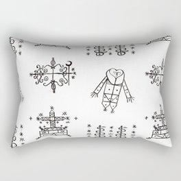 Papa Legba + Baron Samedi + Gran Bwa + Damballah-Wedo Voodoo Veve Symbols in White Rectangular Pillow