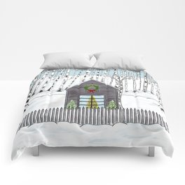 Christmas Cabin In The Snowy Woods Comforters