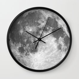 Full Moon phase print black-white monochrome new lunar eclipse poster home bedroom wall decor Wall Clock