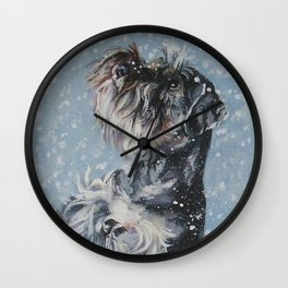 SCHNAUZER in the Snow dog art from an original painting by L.A.Shepard Wall Clock