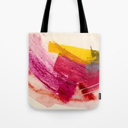 Pink Lemonade: a minimal, colorful abstract mixed media with bold strokes of pinks, and yellow Tote Bag