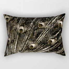 427 8 Steel Peacock Feathers Rectangular Pillow