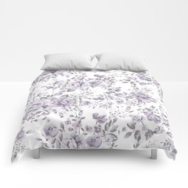 FLORAL VINTAGE ROSES MAUVE WHITE Comforters