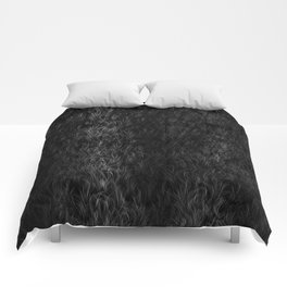 Fur Texture - Black and White #1 Comforters