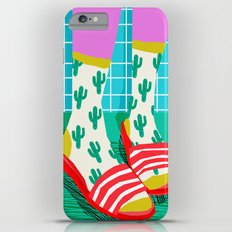 Sliders - memphis throwback retro neon 1980s 80s style pop art shoe fashion grid pattern socks iPhone 6 Plus Slim Case