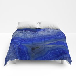 deep blue agate with peach background Comforters