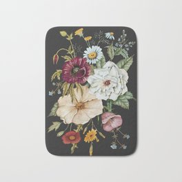 Colorful Wildflower Bouquet on Charcoal Black Bath Mat