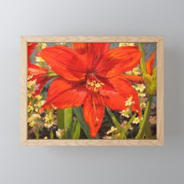 Lone Beauty — Red Daylily Blossom by L Diane Johnson Framed Mini Art Print