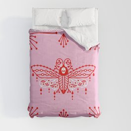 Death's Head Hawkmoth – Red & Pink Comforters