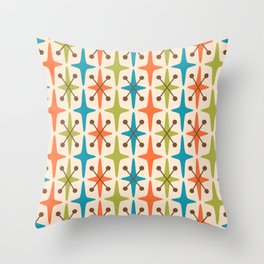 Mid Century Modern Abstract Star Pattern 441 Orange Brown Turquoise Chartreuse Throw Pillow