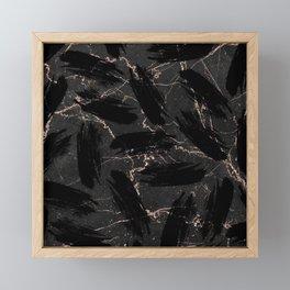 Abstract black rose gold glitter brushstrokes marble Framed Mini Art Print