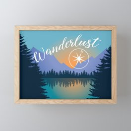 Wanderlust, Summer Adventure in the Mountains Framed Mini Art Print