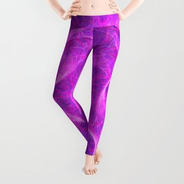 Neon Pink Perpetual Motion Fractal Art Design Leggings