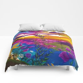 Floral Beach, Bright Floral Beach, Abstract Floral Ocean Comforters