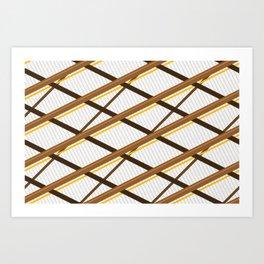Deco Stripes Brown Art Print