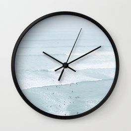Tiny Surfers from the Sky, Lima, Peru Wall Clock