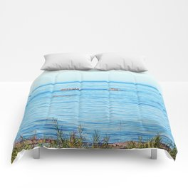 Bird Filled Rocks and a Whale Comforters