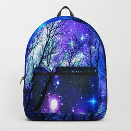 black trees purple blue space Backpack