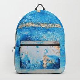 Rainy Day: a pretty minimal abstract mixed media piece in blue & gold by Alyssa Hamilton Art Backpack