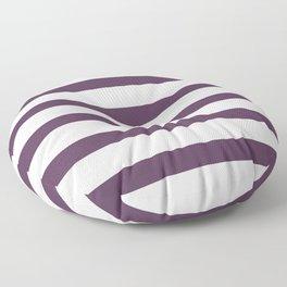 Dark Purple Stripes on White Background Floor Pillow