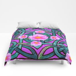 Mystical Wild Pink Celtic Roses Teal Purple Art Comforters