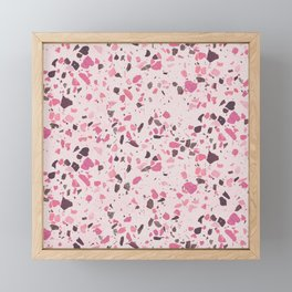 Abstract modern girly pastel pink black marble Framed Mini Art Print