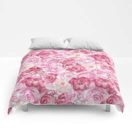 Hand painted white blush pink  coral floral Comforters